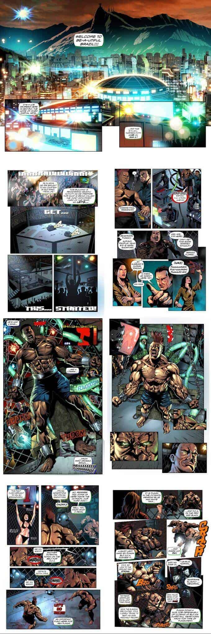 pages from the graphic novel fight of the century