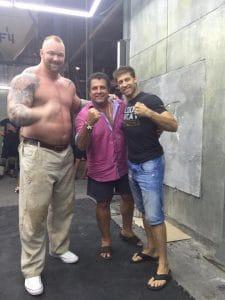 alain mousi and the MOUNTAin on the set of kickboxer retaliation